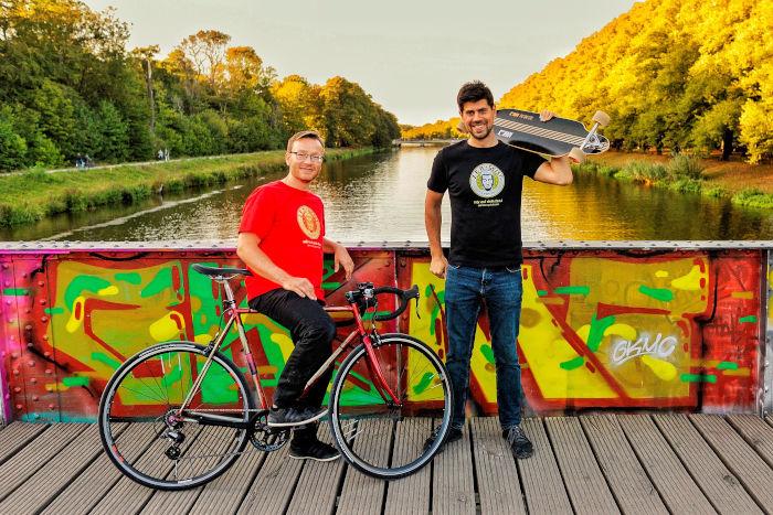 Bart und Martin auf der Rennbahnsteg-Brücke